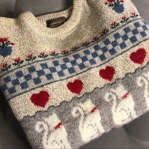 EDDIE BAUER Cat Valentines Day Heart Sweater